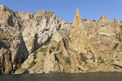 Bizarre rocks of Kara-Dag.On the coast of the Black sea. Royalty Free Stock Photography