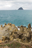 Bizarre rocks & rock formations in Keelung, Taiwan. View of bizarre geological rocks and rock formations on a cliff at the Heping (Hoping) Island Park (also Royalty Free Stock Photos