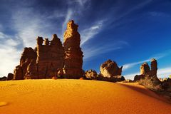 Bizarre sandstone cliffs in Sahara Desert Stock Photo