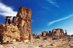 Bizarre sandstone cliffs in Sahara Desert Stock Image