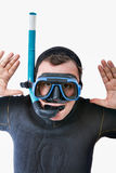 Bizarre scuba diver in serious expression. White background Stock Images