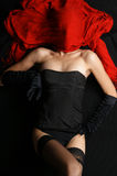 A bizarre shoot of a young woman in erotic dress Royalty Free Stock Photos