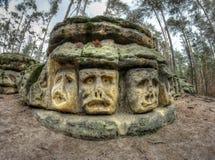 Bizarre Stone Heads - Rock Sculptures Royalty Free Stock Photos