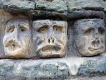 Bizarre Stone Heads - Rock Sculptures Royalty Free Stock Photography