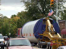 Bizarre Trailer Truck load. Oversize Load Trailer Truck going through town Stock Photos