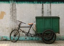 Bizarre trike. Tricycle in china for waste disposal or transportation of goods Royalty Free Stock Photo
