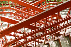 A bizarre weave of red handrails and stairs in the park. Russia Moscow royalty free stock image