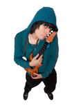 Bizarre young man with a little guitar. Isolated Stock Photos
