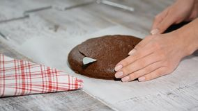 Bizcocho esponjoso del corte de la mano de la mujer Cortar un pastel de bodas de la esponja almacen de metraje de vídeo