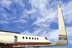 Bizjet blue sky. Illustrated business jet in flight Stock Photography