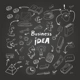 Biznesów doodles, kreda na blackboard wektor royalty ilustracja