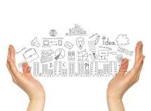 Biznesów nakreślenia w rękach Fotografia Royalty Free