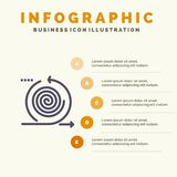Biznes, cykle, iteracja, zarządzanie, produkt ikony Infographics 5 kroków prezentacji Stały tło ilustracja wektor