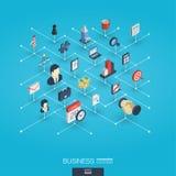 Biznes 3d sieci zintegrowane ikony Cyfrowej sieci isometric pojęcie Fotografia Royalty Free