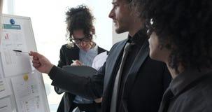 Biznes drużyna analizuje raporty na whiteboard przy biurem zbiory