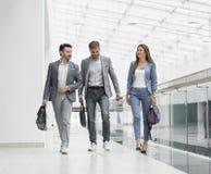 Biznes drużyna iść i dyskutuje biznesowych zagadnienia obrazy royalty free