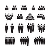 Biznes drużyna, sylwetek ludzie, pracownik, grupa, tłum wektorowe ikony ustawiać Zdjęcie Stock