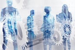 Biznes drużyna z przekładnia systemem Pracy zespołowej, partnerstwa i integraci pojęcie z sieć skutkiem, podwójny narażenia ilustracja wektor