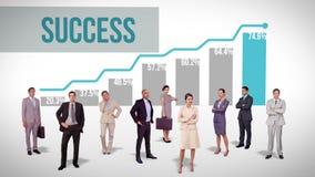Biznes drużynowa pozycja przeciw zyskownemu wykresowi ilustracja wektor