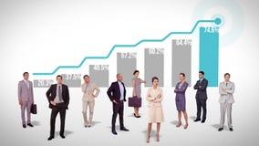 Biznes drużynowa pozycja przeciw zyskownemu wykresowi royalty ilustracja