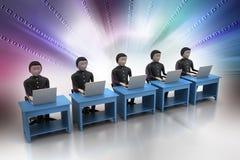 Biznes drużynowy patrzejący laptop Obraz Royalty Free