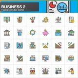 Biznes, finanse, pieniądze, kreskowe ikony ustawia, wypełniająca konturu symbolu wektorowa kolekcja, liniowa kolorowa piktogram p Zdjęcie Royalty Free