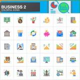 Biznes, finanse, pieniądze wektorowe ikony ustawiać, nowożytna stała symbol kolekcja, wypełniająca kolorowa piktogram paczka Znak Zdjęcie Royalty Free