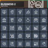 Biznes, finanse, pieniądze, zapłaty wykłada ikony ustawiać, konturu symbolu wektorowa kolekcja, liniowa biała piktogram paczka Zn Obrazy Royalty Free