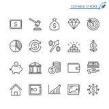 Biznes i inwestorski kontur ikony set royalty ilustracja