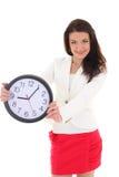 biznes kobieta zegarowa szczęśliwa pokazywać Obraz Royalty Free