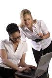 biznes laptop kobiet do pracy Zdjęcia Stock