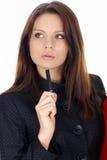 biznes laptopa na białą kobietę stanowiącą Obrazy Stock