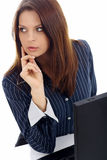 biznes laptopa na białą kobietę stanowiącą Fotografia Stock