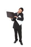 biznes odizolowywający mężczyzna notatnik używać potomstwo Fotografia Royalty Free