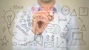 Biznes, pojęcie ilustracja, mężczyzna writing na przejrzystym ekranie Obraz Royalty Free