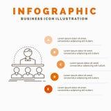 Biznes, trener, kurs, instruktor, mentora Infographics szablon dla strony internetowej i prezentacja, Kreskowa Szara ikona z poma royalty ilustracja