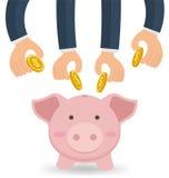 Biznes Wręcza Wpólnie Stawiać pieniądze Z Ślicznym prosiątko bankiem ilustracja wektor
