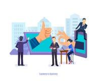 Biznes biznes Zarządzanie przedsiębiorstwem, komunikacje, zaopatrzeniowy łańcuch, badanie rynku ilustracja wektor