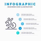 Biznes, zmiana, wygoda, ucieczka, urlop Kreskowa ikona z 5 kroków prezentacji infographics tłem ilustracji