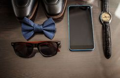 Biznesmenów akcesoria Mężczyzna ` s styl Mężczyzna ` s akcesoria: Mężczyzna ` s motyl, mężczyzna ` s buty, mężczyzna ` s zegarki Zdjęcie Stock