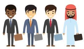 Biznesmenów charaktery różny pochodzenie etniczne w mieszkaniu projektują Zdjęcie Stock