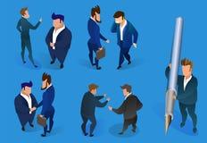 Biznesmenów charaktery Ustawiający na Błękitnym tle ilustracja wektor