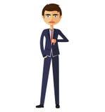 Biznesmenów kciuki zestrzelają Gniewny nieszczęśliwy biznesmena charakter Fotografia Royalty Free