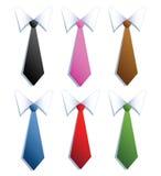 Biznesmenów krawaty z sześć różnymi kolorami. Fotografia Stock