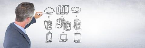 Biznesmenów serwerów sieci rysunkowi doodles Fotografia Royalty Free