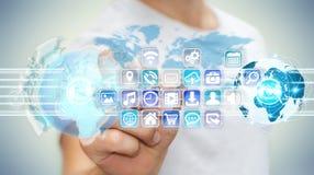 Biznesmenów złączeni światy ikony i zastosowania oprogramowanie Zdjęcie Royalty Free