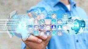 Biznesmenów złączeni światy ikony i zastosowania oprogramowanie Obrazy Royalty Free