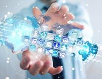 Biznesmenów złączeni światy ikony i zastosowania oprogramowanie Obrazy Stock