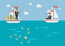 Biznesmen łowi więcej pieniądze niż jego konkurent z pomysłem Zdjęcie Royalty Free