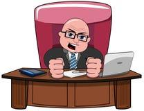 Biznesmen Łysej kreskówki szefa Gniewny biurko royalty ilustracja